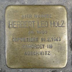 Photo of Herbert Leo Holz brass plaque