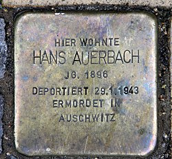 Photo of Hans Auerbach brass plaque