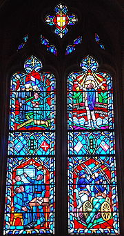 Stain glass of Jackson's life in the National Cathedral in part depicting his service in the Mexican-American War