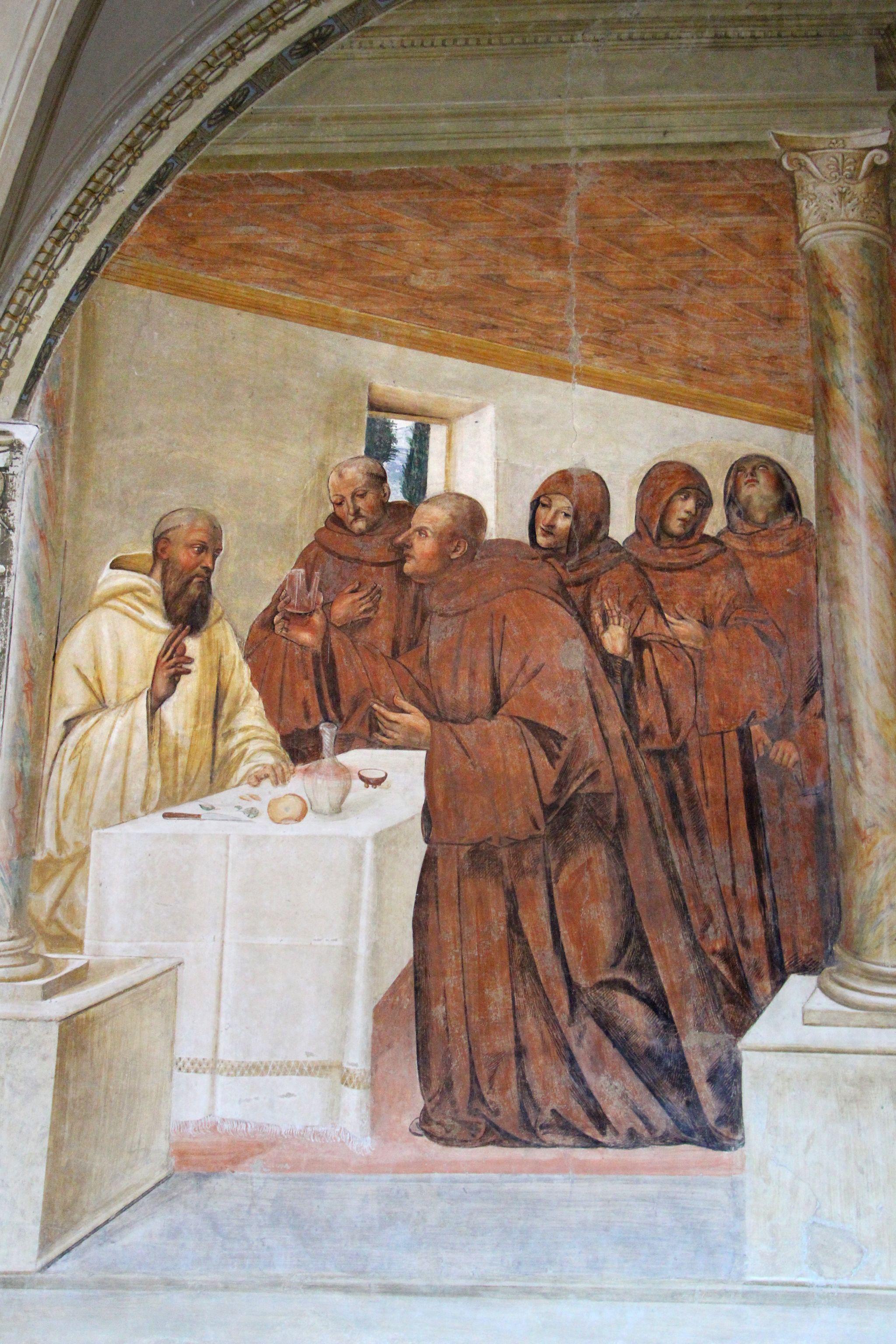 Storie di s. benedetto, 10 sodoma - Come Benedetto spezza col segno della croce uno bicchiere avvelenato 02