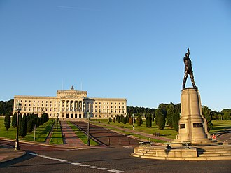 Parliament Buildings, in Stormont Estate, seat of the Northern Ireland Assembly StormontCarson.jpg