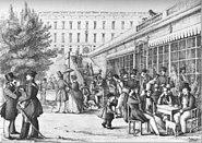 Strömparterren tecknad av Dardel 1841