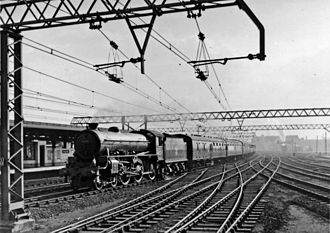 Stratford station - A Thompson B1 4-6-0 passes Stratford station in April 1958