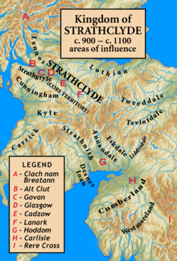 The core of Strathclyde is the strath of the River Clyde. The major sites associated with the kingdom are shown, as is the marker Clach nam Breatann (English: Rock of the Britons), the probable northern extent of the kingdom at an early time. Other areas were added to or subtracted from the