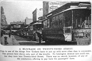 23rd Street (IRT Third Avenue Line) - A line of trolleys along 23rd Street with the Third Avenue Line station in the background in 1903.