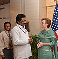 Su. Thirunavukkarasar with U.S. Consul General, Chennai Jennifer McIntyre who hosted a reception to celebrate America's 236th birthday in Chennai on July 03, 2012.jpg