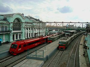 Moscow Smolenskaya railway station - Suburban platforms of Belorussky Rail Terminal also showing Aeroexpress platform.