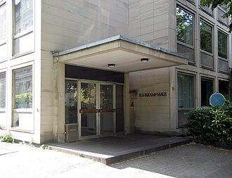 Suhrkamp Verlag - The entrance of the (now demolished) Suhrkamp-building in Frankfurt
