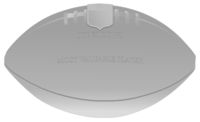 "An illustration of a silver football-shaped trophy with the phrases ""SUPER BOWL"" and ""MOST VALUABLE PLAYER"" in the middle."