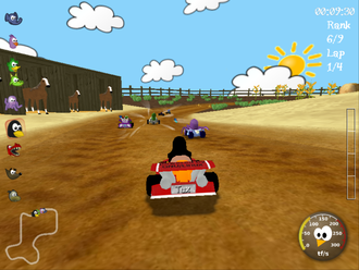 Racing video game - SuperTuxKart, an example of a racing video game