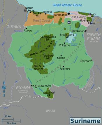 Surinam World Map.Suriname Travel Guide At Wikivoyage