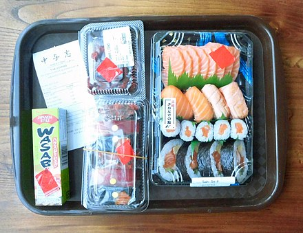 Sushi in shops are usually sold in plastic trays. Sushi Bento in Aeon Mall BSD City Indonesia 1.jpg