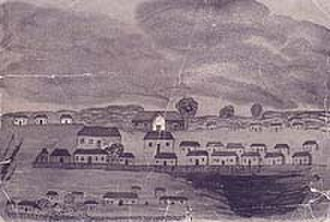 1796 in Australia - A pen and wash drawing of Sydney in 1796