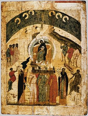 Synaxis - Icon of the Synaxis of the Theotokos (Pskov, 17th century).