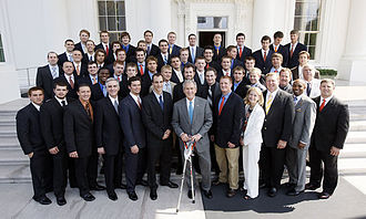 Syracuse Orange men's lacrosse - The 2008 Orange are honored at the White House by President of the United States George W. Bush in June 2008 for their winning the 2008 national championship.