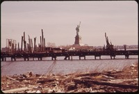TRASH COVERS DUMPING AREA DESIGNATED AS A FUTURE PARK (LIBERTY STATE PARK). STATUE OF LIBERTY APPEARS IN BACKGROUND - NARA - 549760.tif