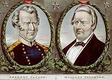 Um banner de campanha colorido com retratos de Zachary Taylor à esquerda e Fillmore à direita