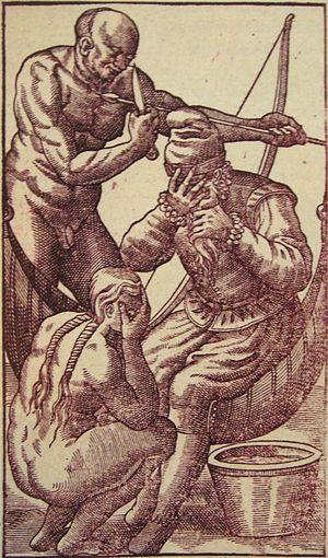 """France Antarctique - """"Salutations larmoyantes"""" (""""Tearful salutations""""), in Histoire d'un voyage faict en la terre du Brésil (1578), Jean de Léry, 1580 edition."""