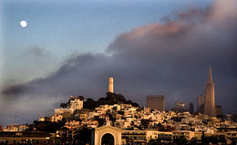 A view of Telegraph Hill from a boat in the San Francisco Bay.