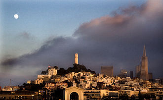 Telegraph Hill, San Francisco - A view of Telegraph Hill from a boat in the San Francisco Bay