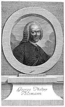 Telemann, Titelkupfer zur Bibliothek der schönen Wissenschaften und der freyen Künste nach dem Porträt von Lichtensteger (1764) (Quelle: Wikimedia)