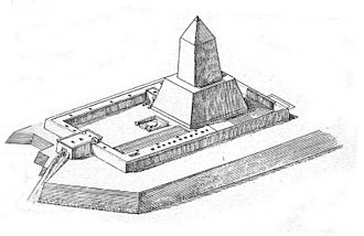 Abu Gorab - Reconstruction of Nyuserre's sun temple in Abu Gorab by Gaston Maspero