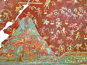 Painting in the Americas before European colonization - Image: Tepantitla Mountain of Abundance mural