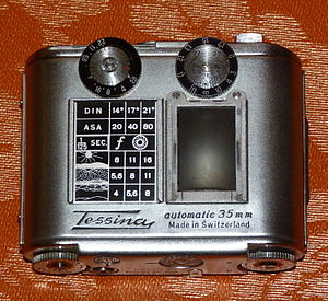 Film speed - Classic camera Tessina with exposure guide, late 1950s