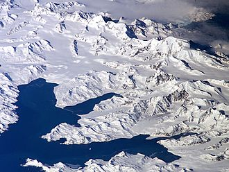 Subantarctic - Satellite image of central South Georgia: Harker Glacier, Cumberland Bay, Thatcher Peninsula, Allardyce Range, Mount Paget.
