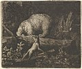 The Bear with His Snout and Forepaws Caught in the Trunk of a Tree from Hendrick van Alcmar's Renard The Fox MET DP837701.jpg