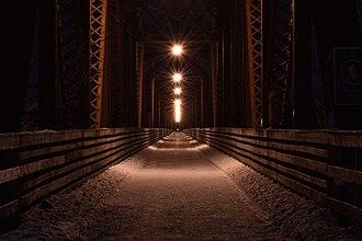 Fredericton Railway Bridge - The walking bridge on a winter night