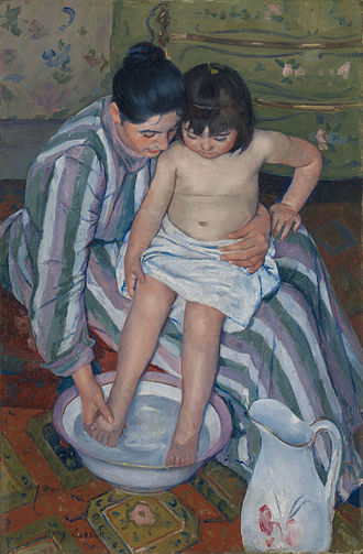Visual art of the United States - Mary Cassatt, The Child's Bath 1891–1892, Art Institute of Chicago