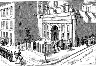1892 Argentine presidential election - The Presidential Election in Argentina, the polling-station at the Church of La Merced, Buenos Aires (Godefroy Duran, The Graphic, 1892).