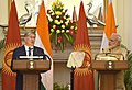 The Prime Minister, Shri Narendra Modi and the President of the Republic of Kyrgyzstan, Mr. Almazbek Sharshenovich Atambayev at the Joint Press Statement, at Hyderabad House, in New Delhi on December 20, 2016 (1).jpg