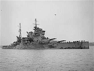 HMS Queen Elizabeth (1913) - Queen Elizabeth in her final configuration, underway in coastal waters during the Second World War