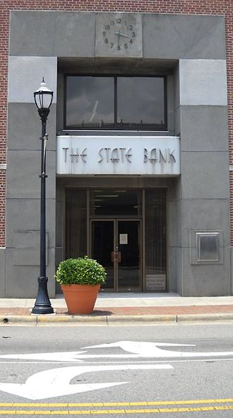 Laurinburg, North Carolina - The State Bank building in downtown Laurinburg.