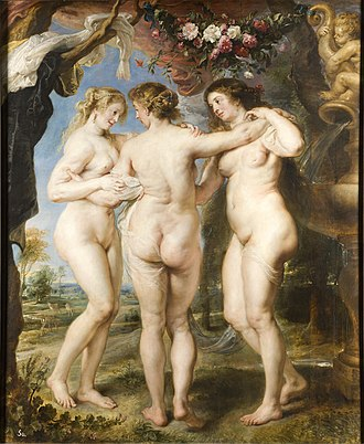 1635 in art - Image: The Three Graces, by Peter Paul Rubens, from Prado in Google Earth