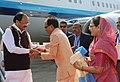 The Vice President, Shri M. Venkaiah Naidu being received by the Chief Minister of Madhya Pradesh, Shri Shivraj Singh Chouhan, on his arrival, in Bhopal, Madhya Pradesh on December 17, 2017.jpg