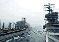 The fleet replenishment oiler USNS Henry J. Kaiser (T-AO 187), left, sails alongside the aircraft carrier USS Ronald Reagan (CVN 76) during a replenishment at sea May 8, 2013, in the Pacific Ocean 130508-N-HT107-042.jpg