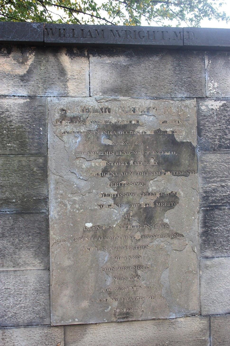 The grave of Dr William Wright, Greyfriars Kirkyard, Edinburgh
