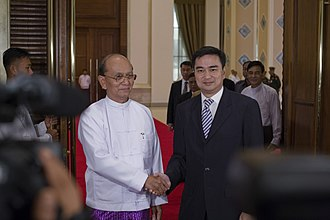 Thein Sein - Thein Sein and Thai PM Abhisit Vejjajiva during a state visit to Naypyidaw in October 2010.