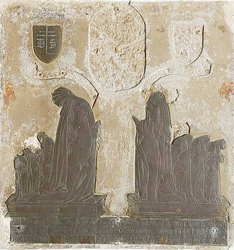 "Spring family - Brass of Thomas Spring (d. 1486), father of Thomas Spring (""The rich clothier""), and his wife Margaret."
