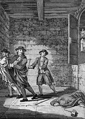 Black-and-white sketch of Thomas Blood and two of his accomplices stealing objects from the Jewel House. The regalia cupboard is partially open, and a man lies wounded on the floor.
