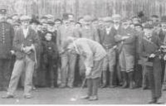Thomas Renouf - Renouf (left) watches Harry Vardon putt in a match at Silloth-on-Solway Golf Club in 1898.