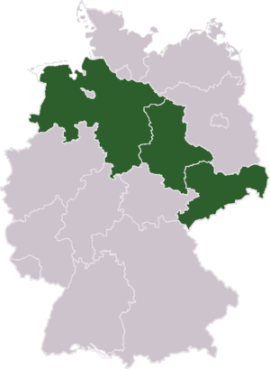 Duchy of Saxony - Map showing the location of the three states, Lower Saxony in the northwest, Saxony-Anhalt in the center, and the Free State of Saxony in the southeast, within today's Germany