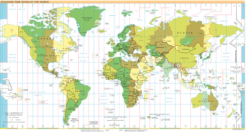 UTC−11: blue (December), orange (June), yellow (all year round), light blue  (sea areas)