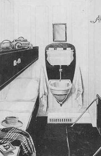Second and Third-class facilities on the RMS Titanic - Illustration of a typical 3rd-class cabin on the RMS Titanic