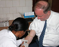 Blood testing in a medical facility in Ethiopia.