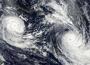 Cyclone Tomas - Cyclones Tomas (right) and Ului (left) on 16 March