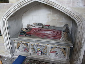 "Warbelton v Gorges - Tomb at Wraxall, of Sir Edmund Gorges (d.1512), showing on base in dexter ""Gorges Modern"", in sinister arms of Russell. A drawing of this tomb was made by Samuel Hieronymus Grimm"